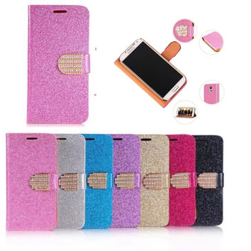 Luxury Cover Cases For Samsung Galaxy s4 mini PU Leather Glitter Shining Diamond Flip Buckle Stand Card holder Cover For S4 mini