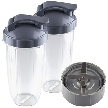 NutriBullet Extractor Blade + 2 32 oz Colossal Cups with Flip Top To-Go Lids