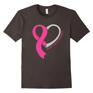 Heart Ribbon T-Shirt Breast Cancer Awareness
