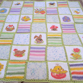 Easter hand knitted afghan...Patchwork baby blanket