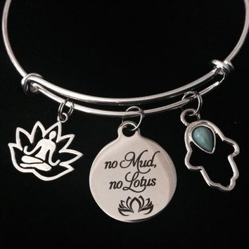 No Mud No Lotus Hamsa Hand Buddha Adjustable Bracelet Expandable Charm Bangle Silver Yoga Gift New Beginnings