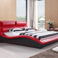 Napoli Modern Platform Bed Red/black (King):Amazon:Home & Kitchen