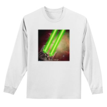 Laser Eyes Cat in Space Design Adult Long Sleeve Shirt by TooLoud