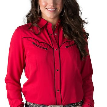 Wrangler Women's Red with Black Piping Long Sleeve Retro Western Shirt
