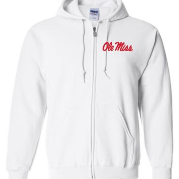 Official NCAA University of Mississippi Rebels Ole Miss Hotty Toddy Basic Zip Hoodie - 36OLM1