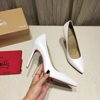 DCCK Christian Louboutin red sole classic rivet Roller Boat CL with masonry high top sneakers 90514