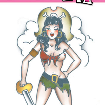 costume accessory: tattoo pirate pin up girl Case of 5