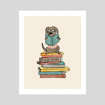 Dog with a Book, an art print by Luisa Mendez
