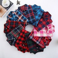 Plaid Shirt Female College style womens Long Sleeve Flannel Shirt