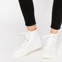 Truffle Collection Flatform Creeper High Top Trainers at asos.com