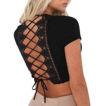 Summer Sexy Back Hollow Lace Tank Tops