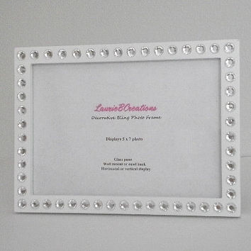 WHITE & BLING Picture Frame - White w/ Clear Rhinestones for 5 x 7 photos or info