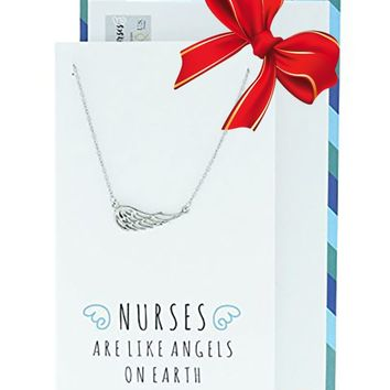 Riona Angel Wing Necklace, Gifts for Nurses, Sister Jewelry