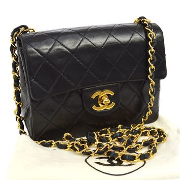 Auth CHANEL Quilted CC Single Chain Shoulder Bag Black Leather Vintage AK14823