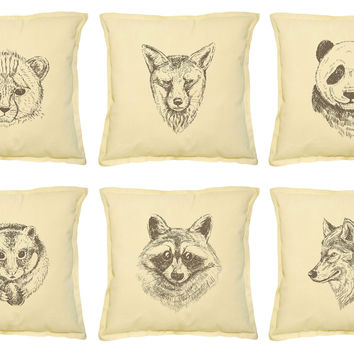 set of different wild animals Printed Decorative Pillows Case VPLC_02 Size 18x18