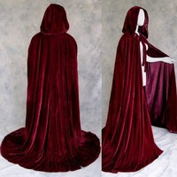 Artemisia Designs Renaissance Medieval Lined Velvet Cloak Burgundy Wine One Size