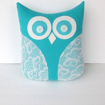 decorative owl pillow, teal, turquoise blue white lace, blue and white nursery decor, gift for her, Easter gift, READY TO SHIP 30% off