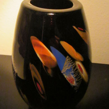Attributed Dino Marten Black Glass Vase Abstract Murano Gold Inclusion