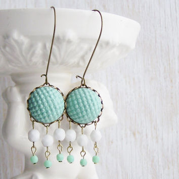 Aqua chandelier earrings, polymer clay cabochon earrings, mint and white earrings, shabby chic jewelry, pastel earrings