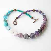 Turquoise Amethyst Beaded Necklace Ombre Necklace Amethyst Jewelry Semi Precious Stones Europeanstreetteam