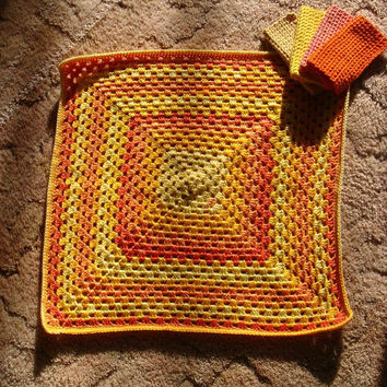 Baby Blanket, New Mom Gift, Washcloths, Baby Shower Gift, Mother, Car Seat Stroller Receiving Swaddling Security Yellow Orange, Peach Unisex