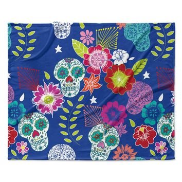 "Anneline Sophia ""Day of the Dead"" Blue Aztec Fleece Throw Blanket"