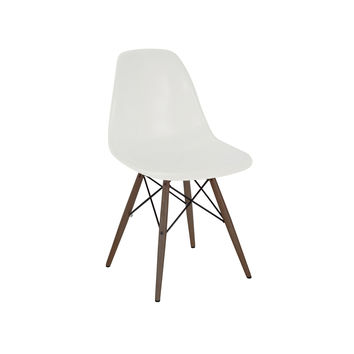 Trige Almond Side Chair with Walnut Wood Base (Set of 5)