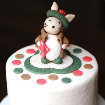 Fondant Cake Topper - Whimsical 3D Rabbit Cake Topper Fondant Figure - Perfectly Matches Our Cupcake Toppers