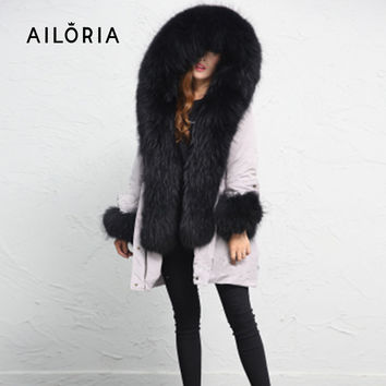 Ailoria Brand 2016 Top Quality Winter Women Real Raccoon Fox Fur Coats hooded 100% Genuine Natural Fox Fur Jackets lady's Parka