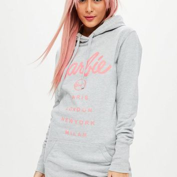 Missguided - Barbie x Missguided Gray Hooded Sweatshirt Dress