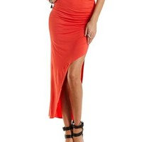 Coral Ruched Asymmetrical Maxi Skirt by Charlotte Russe