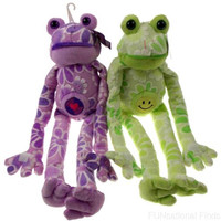 Lot 2 Flower Power Frogs Heart Smiley Face Hanging Soft Plush Embroidered