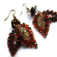 Women's Hand Beaded Fall Leaves Earrings | Orange Brown Gold Women's Earrings |Tiger Eye Gemstone Leaf Earrings | Lady Green Eyes Jewelry