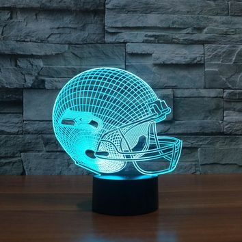 3D NFL Seattle Seahawks Football Acrylic 3D Table lamp Touch 7 Colors Changing Desk lamps USB 3D LED NightLight For Kids Gifts
