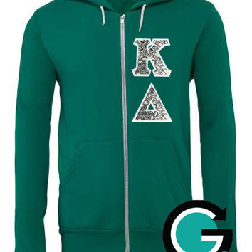 CUSTOM Stitched Greek (Sorority or Fraternity) Letter Color Me Bella Zip Hoodie -- Color your own letters!