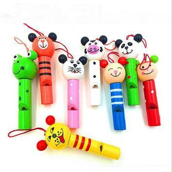 8pcs Small Animals Mixed Wooden Lip Whistles Pinata Kids Birthday Decoration Party Christmas Party Toy Supplies Gift Toys