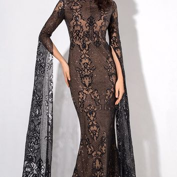 Major Drama Black Sheer Lace Glitter Extra Long Sleeve Mock Neck Bodycon Maxi Dress
