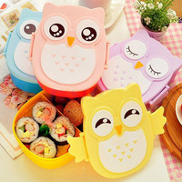 Cartoon Owl Lunch Box Food Container Storage Bento Microwave for Children Kids