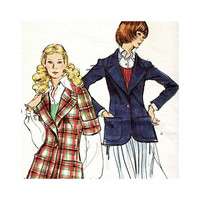 Vintage 1970's Vogue 8473 Sewing Pattern Misses' Jacket Unlined Size 12 Very Easy