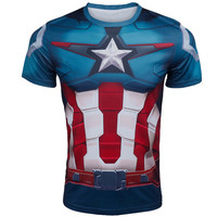 Marvel Super Heroes Avengers Captain America T shirt Batman Lycra Tights sport T shirt Men fitness compression clothing short sleeves