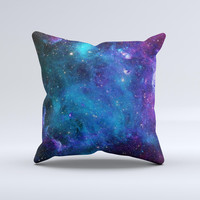 The Azure Nebula ink-Fuzed Decorative Throw Pillow