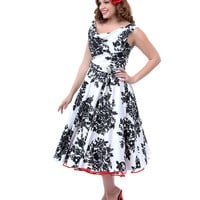 Unique Vintage Plus Size Black & White Blanc! Noir! Fleur! Scoop Neck Belted Swing Dress