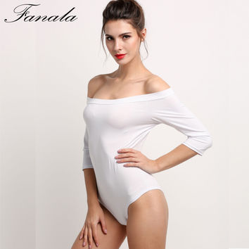 FANALA Women Sexy Jumpsuits Slash Neck Off Shoulder Rompers Half Sleeve Bodysuit Female Casual Sexy Playsuit Plus Size Crop Top