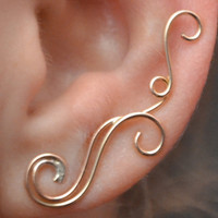 Swirling Victorian Ear Pin -SINGLE - 14k Gold Filled , Sterling Silver, or Mixed Metals