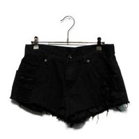 Denim shorts - Black - Pants & Shorts - Women - Modekungen | Clothing, Shoes and Accessories