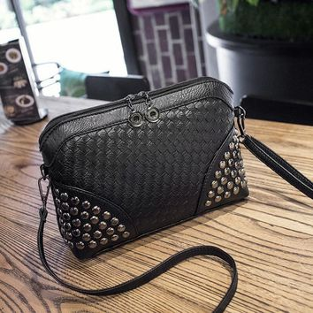 YBYT brand 2017 new fashion knitting rivet bags hotsale ladies cell phone evening clutch mini shoulder messenger crossbody bags