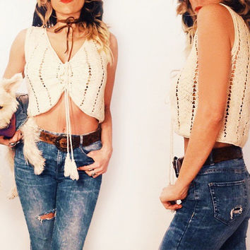 Vintage Bohemian 1970's Crochet Crop Top With Tassels || Size Small Size Medium
