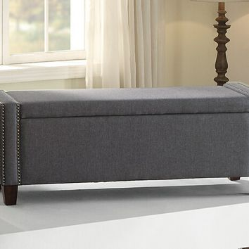 Poundex F6812 Melissa collection blue grey linen like fabric upholstered storage ottoman