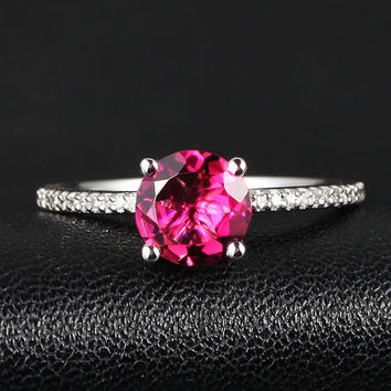 6.5mm VS Pink Tourmaline SI PAVE Diamond Solid 14k White Gold Ring