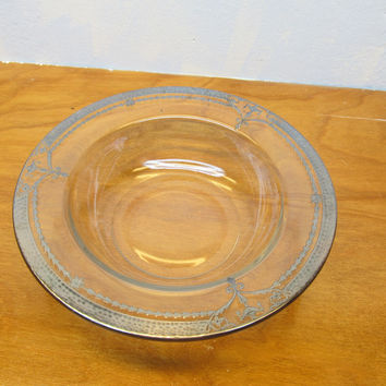 VINTAGE GLASS SERVING BOWL  WITH SILVER ORNATE RIM